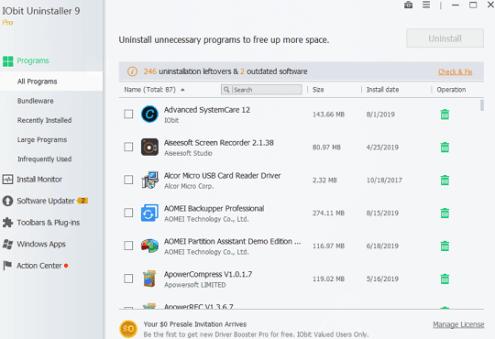 IObit Uninstaller 9 License Key Free for 1 Year