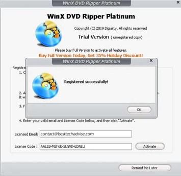 WinX DVD Ripper Platinum Serial Number