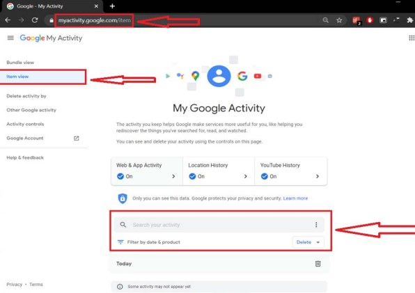 Delete Google History from My Activitry