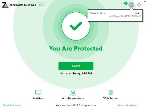 ZoneAlarm Next Generation Antivirus System Function