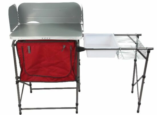 ozark trail deluxe camp kitchen with storage and sink table