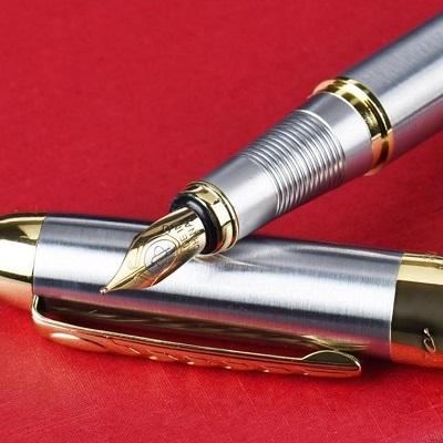 Jinhao No 301 Lacquered Dark Blue Fine Fountain Pen with Chrome Trim