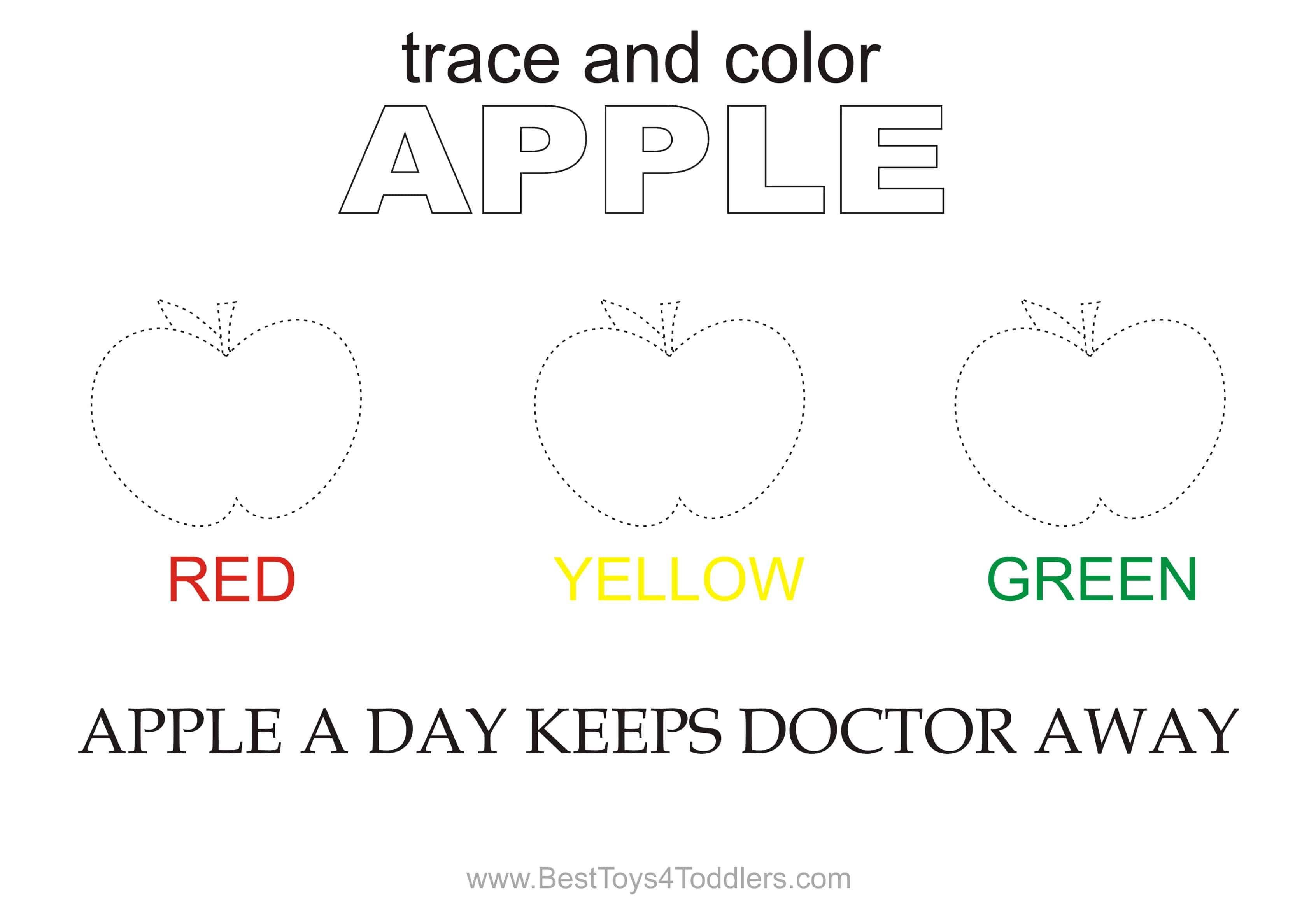 Apple Trace And Color Printable Sheet