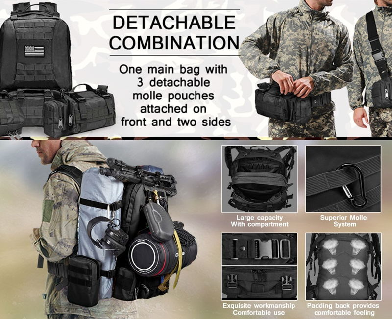 CVLIFE Built up Military Tactical Backpack