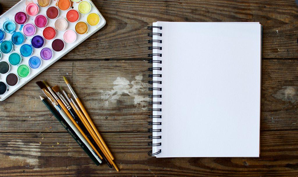 kanvas, kuas dan palet