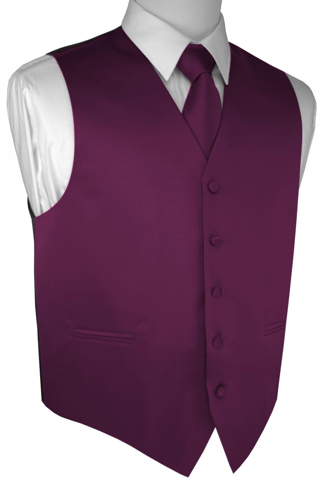 Dress Wedding Tie and Hankie Formal Men/'s Solid Satin Tuxedo Vest Prom