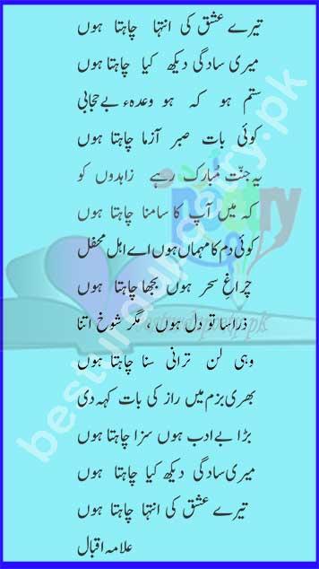 tere ishq ki inteha chahta hoon full ghazal image in urdu - allama iqbal poetry in urdu - besturdupoetry.pk