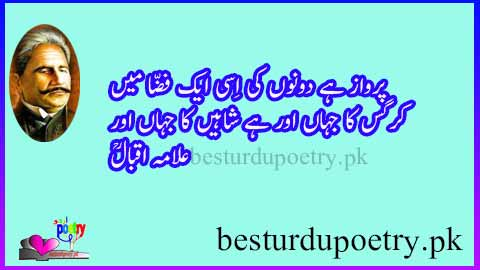 perwaz hai dono ki issi aik fiza main - allama iqbal poetry in urdu