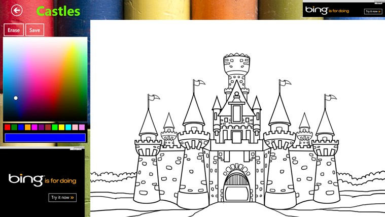 castle coloring book for windows 8 and 8 1
