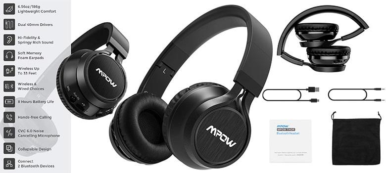Mpow Thor Foldable Over-Ear Wireless Bluetooth Headphones