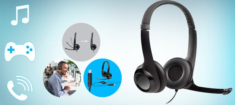 Logitech USB headset h390 with noise-cancelling mic