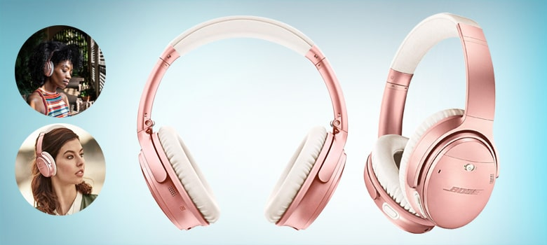 best rose gold headphones with microphone for girls