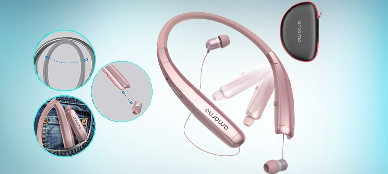best rose gold neckband headphones with microphone