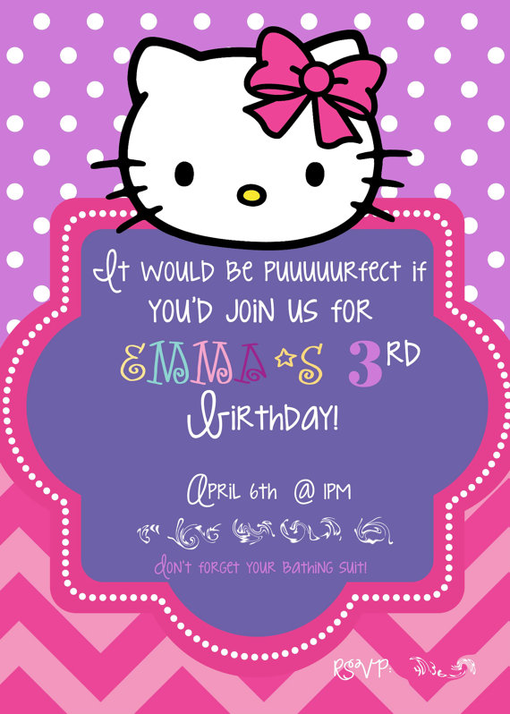 birthday invitation hello kitty theme