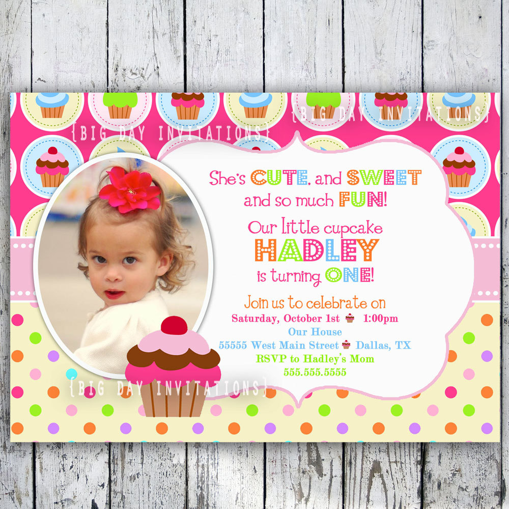 pictures on 1st invitation birthday card