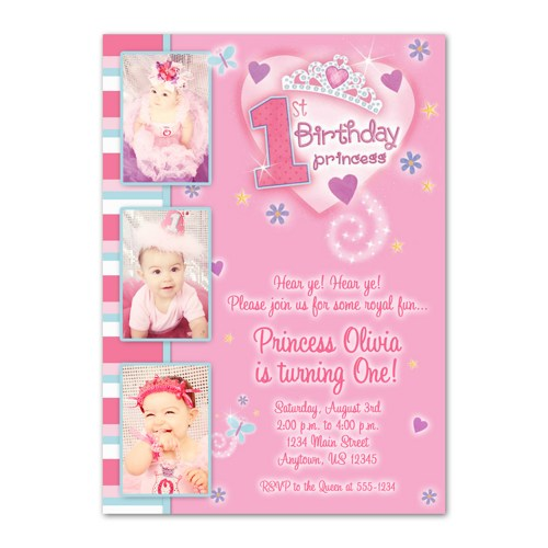 1st birthday invitation princess theme