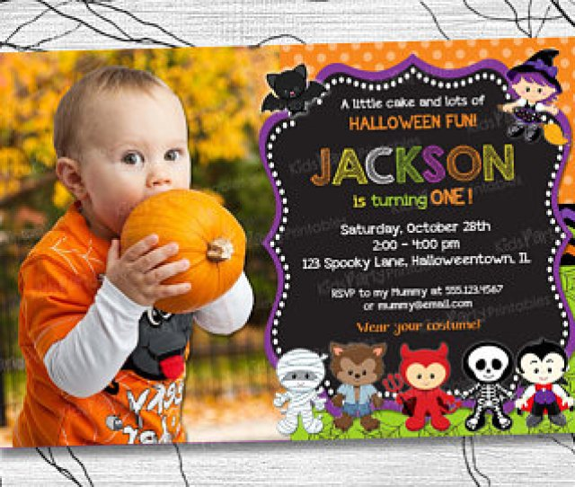 Halloween First Birthday Photo Invitations Il X