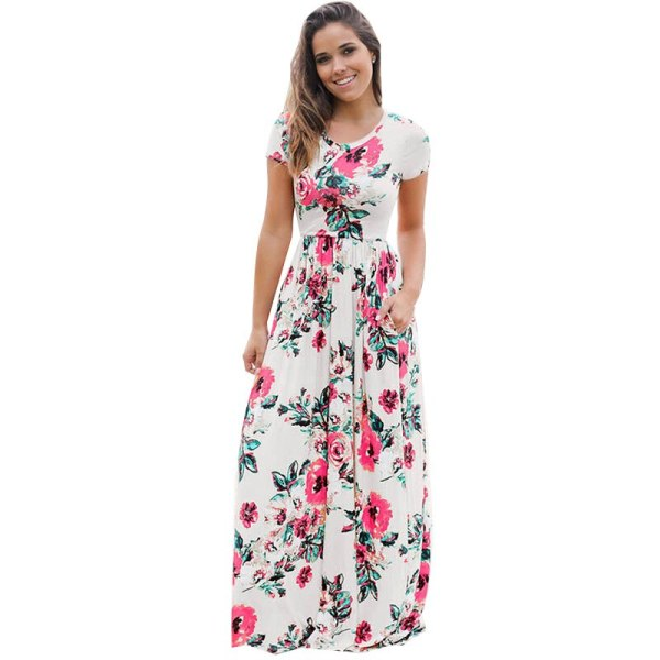 Floral Printed Boho Long Dress Loose Maxi Dresses