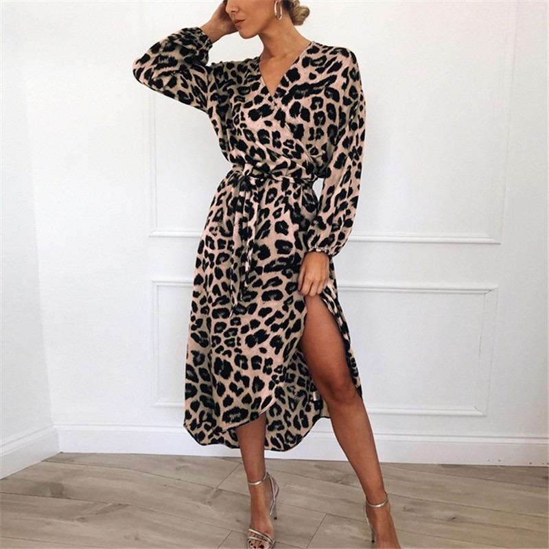 Leopard Dress Women Chiffon Long Beach Dress