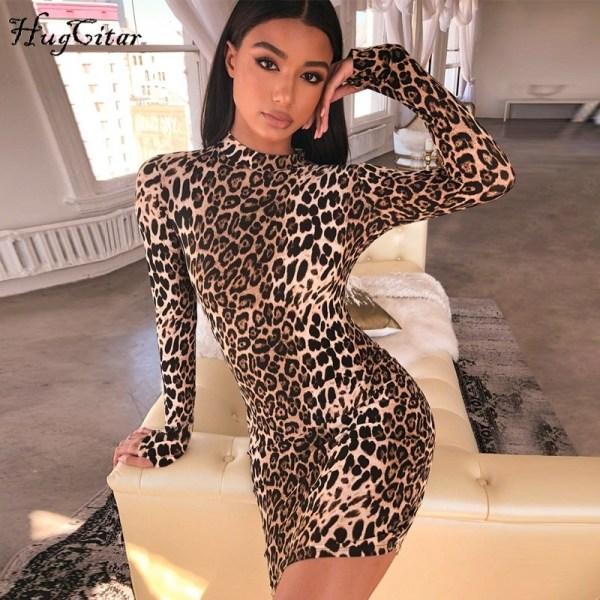 Leopard Print Sexy Dress Christmas Party Dresses