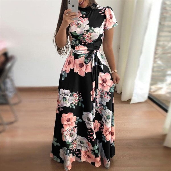 Short Sleeve Long Dress Boho Floral Print Maxi Dress