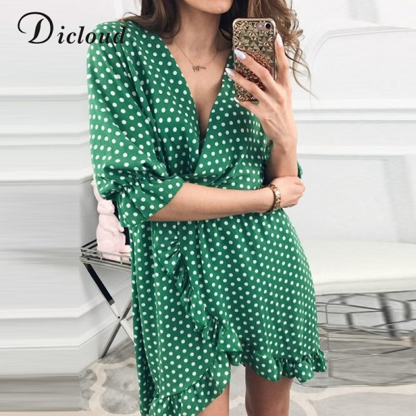Short Women Dress Polka Dot Sexy Bodycon Dresses