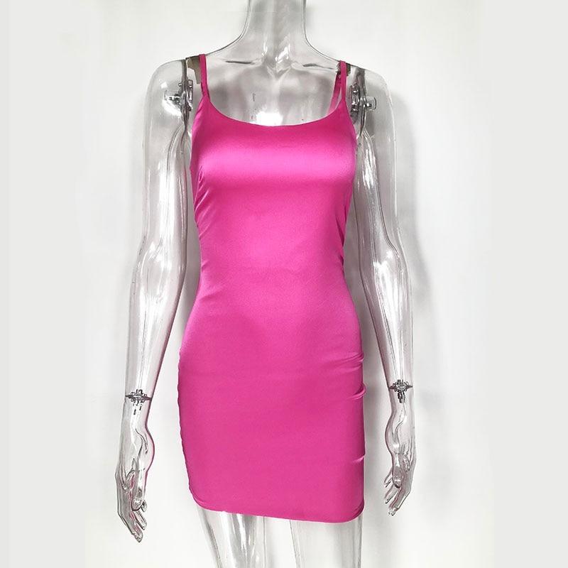 Stretch Mini Satin Dress Sexy Bodycon Party Dress