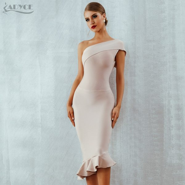 Women Bandage Dress Ruffles Nightclub Dress