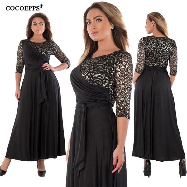 Women Long Dresses Maxi Lace Patchwork Dress