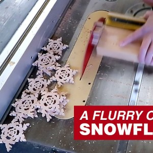 Wooden Snowflakes on a Table Saw