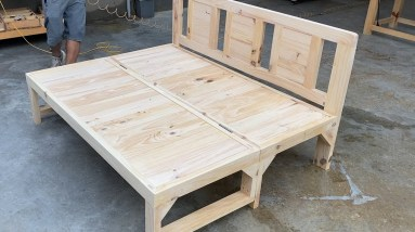 Space Saver Smart Furniture Ideas & Designs // Build A Sofa Chair Combined With Bed Wooden
