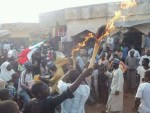 BREAKING NEWS! Youths in Zaria Kaduna State burnt their brooms the symbol of APC & raises PDP flags. See photos