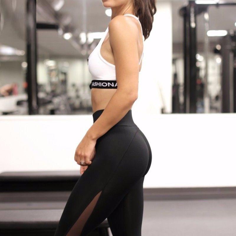 Women High Waist YOGA Leggings Fitness Running Gym Sports Mesh Athletic Pants US