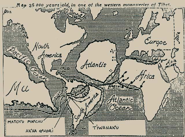 Alte Karte: Atlantis-Lemurien