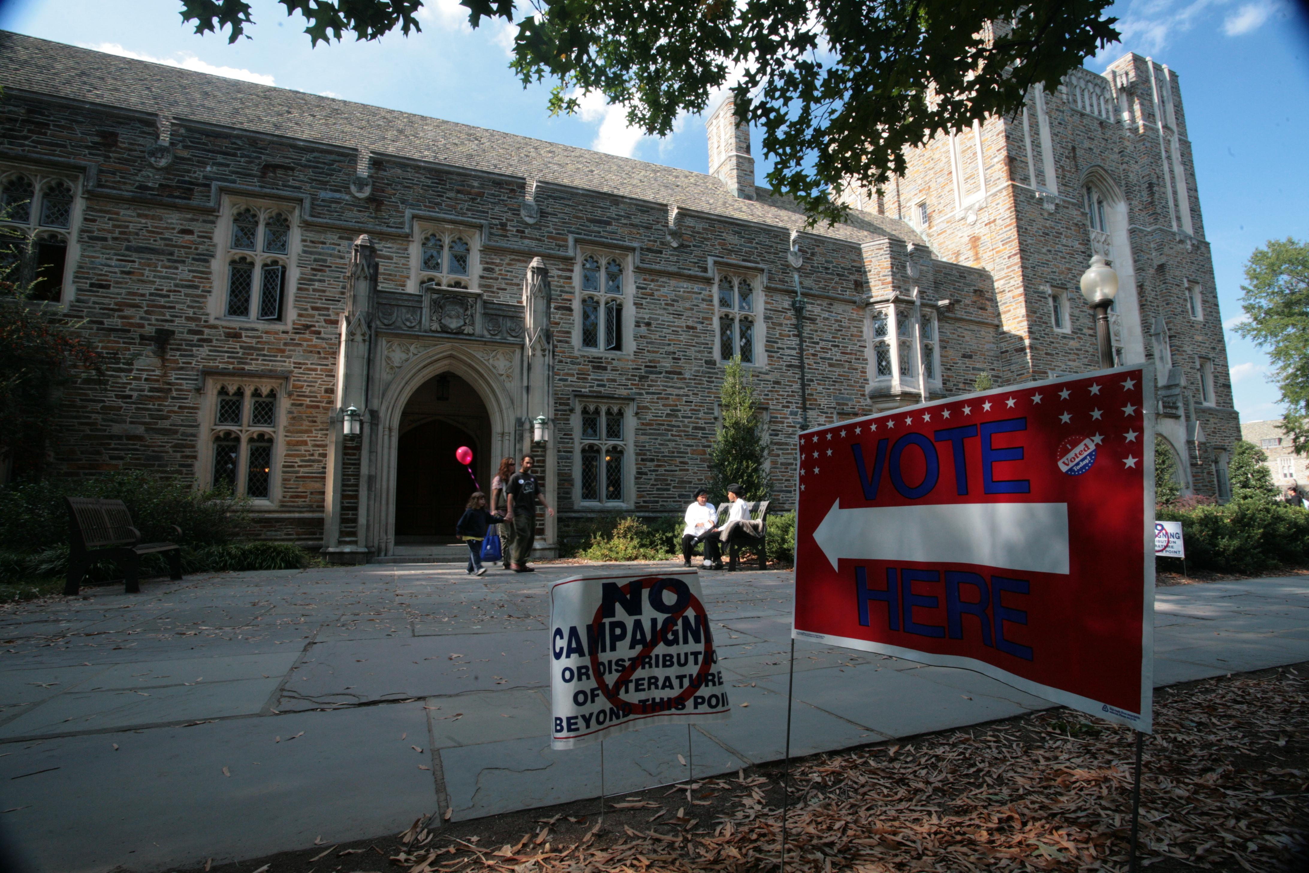 Polling station at Duke University, Durham, NC