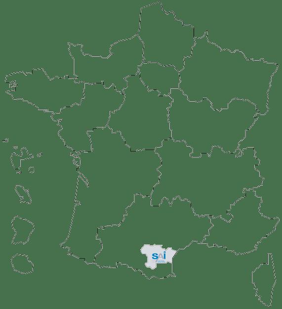 carte de france région localisation SAI - bureau d'études techniques