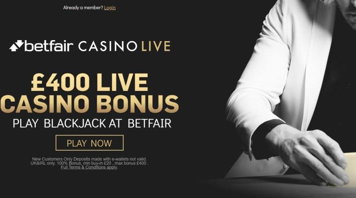Betfair Live Casino Bonus