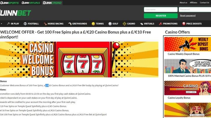 Quinnbet Casino Bonus and 100 Free Spins Offer