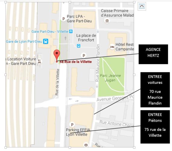 plan d'accès de la gare de Lyon Part-Dieu