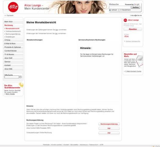 Der 2. Screenshot zeigt die nicht vorhandene Rechnung.