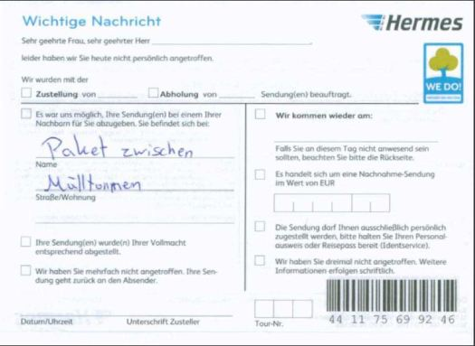 Die Hermes Benachrichtigung zum Paket.