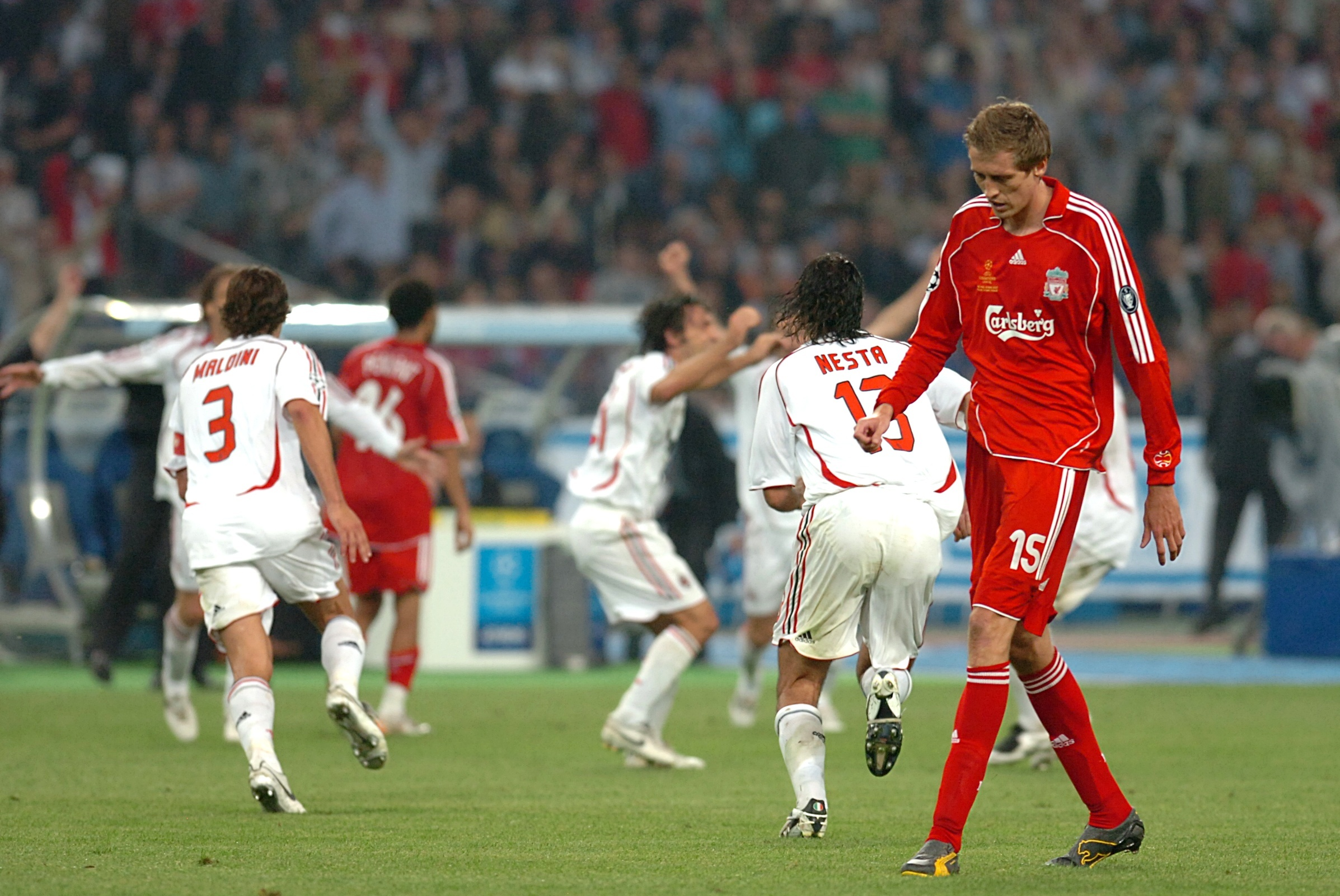 Crouch after Milan had beaten them in the final. Image: PA Images