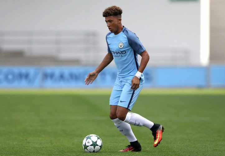 Sancho playing for City's youth team. Image: PA Images