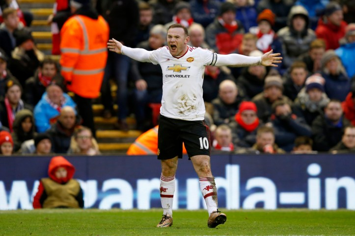Rooney celebrates scoring at Anfield. Image: PA Images