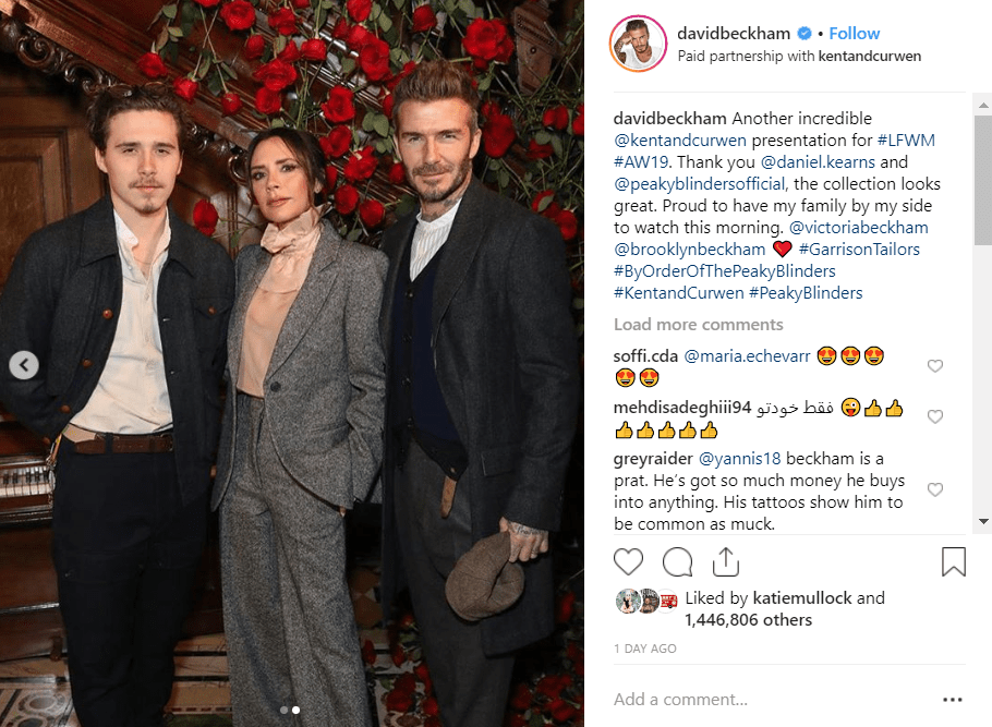 David was joined by designer wife Victoria and son Brooklyn. Credit: Instagram/David Beckham