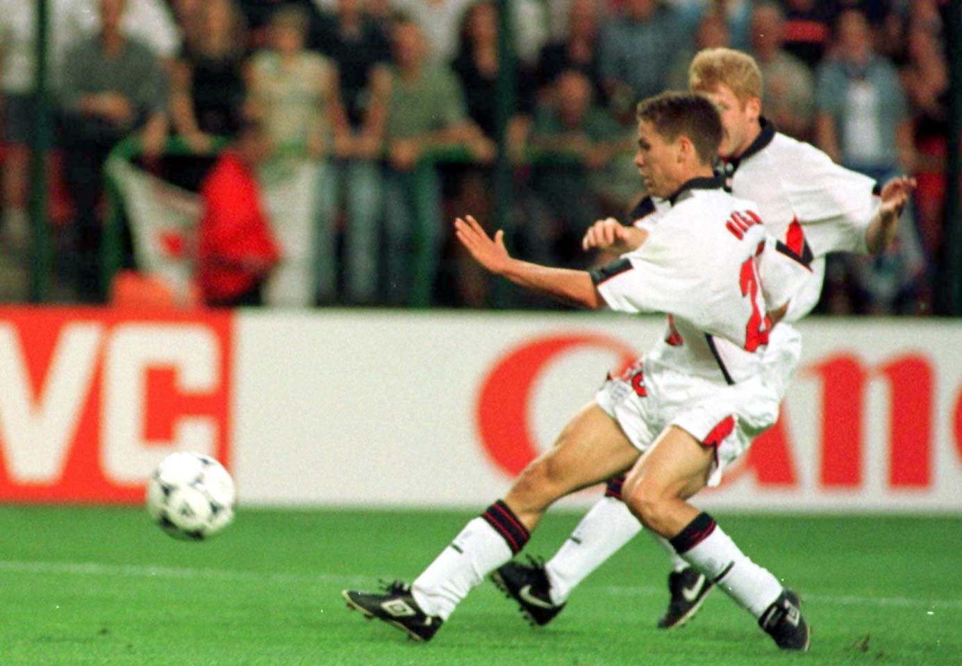 Michael Owen scoring in the 1998 World Cup. Image: PA Images