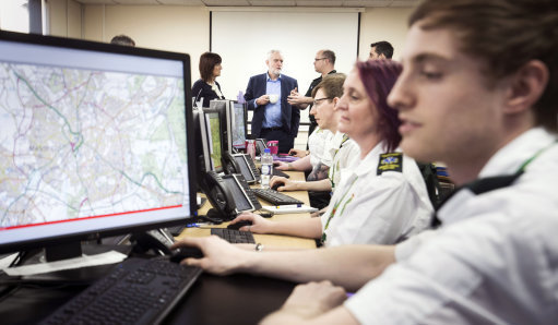 Labour leader Jeremy Corbyn during a visit to a training facility at East Midlands Ambulance Service HQ. Credit: PA