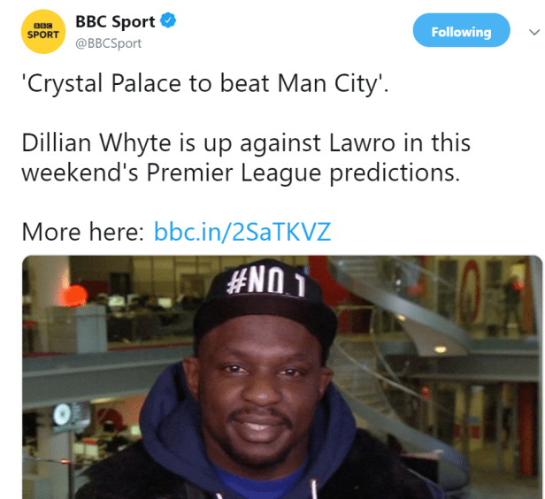 Dillian Whyte with the prediction of a lifetime. Image: BBC Sport