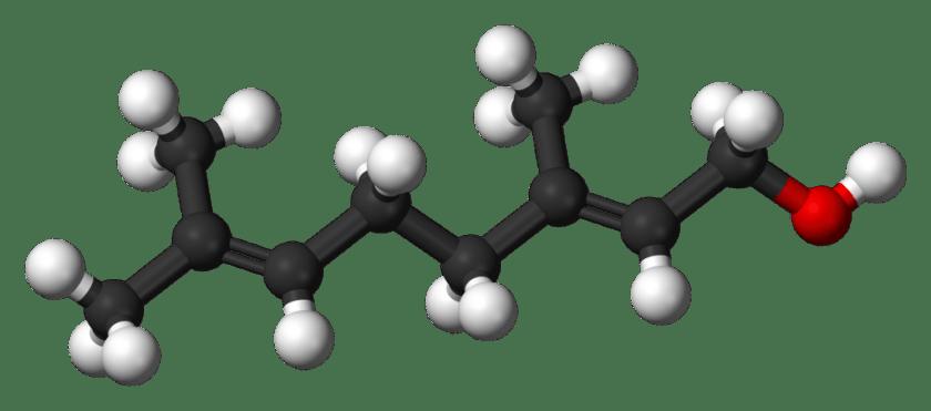 Estructura molecular en 3D del Geraniol