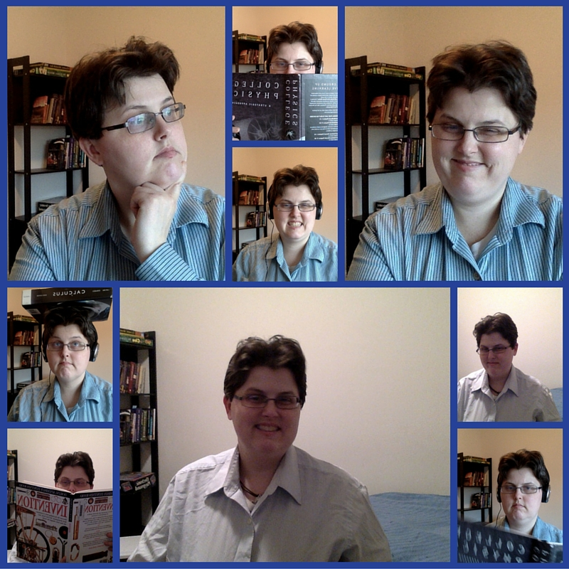 10 photos of me captured from my webcam. Online tutoring involves many faces and the occasional messing around with reference books.